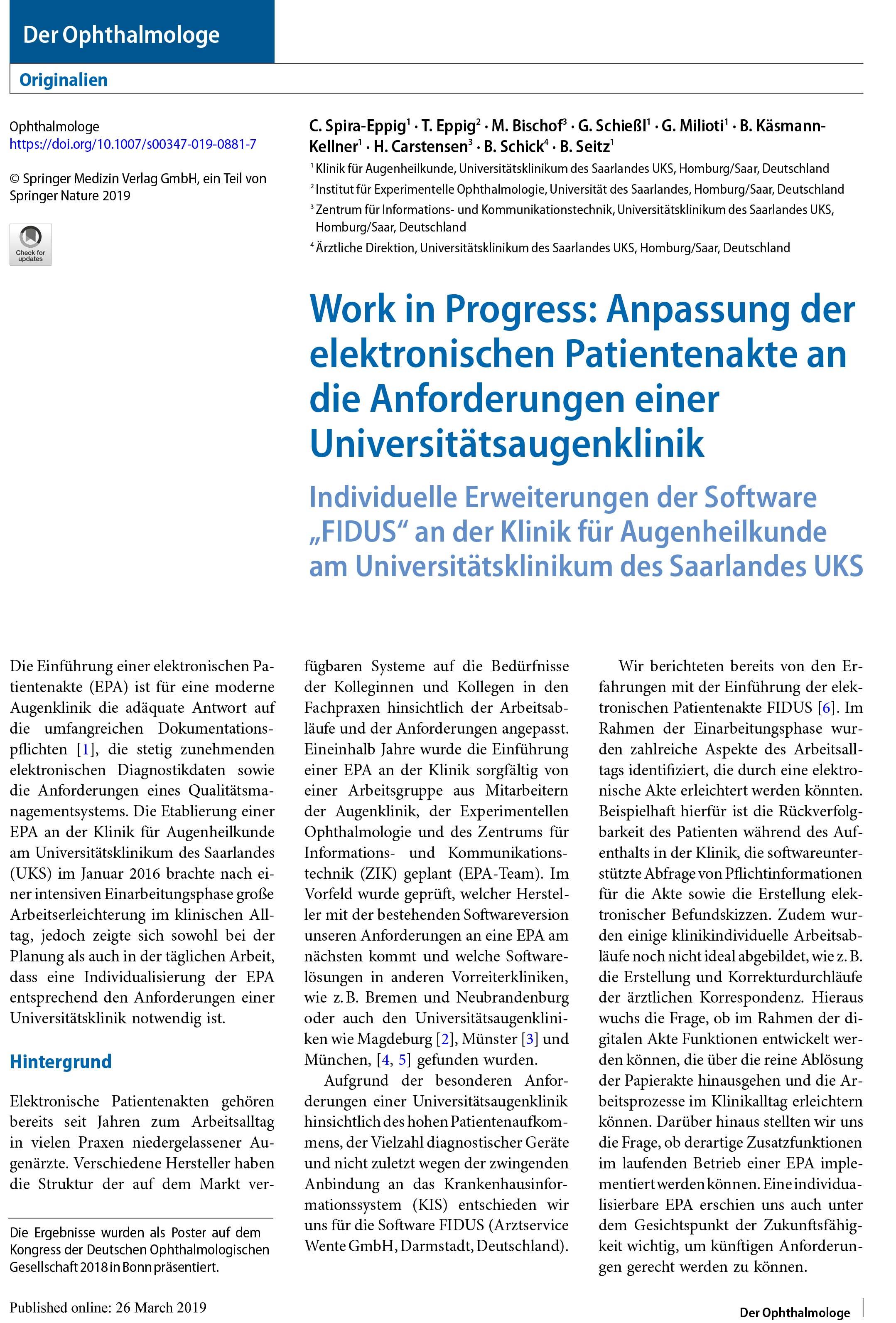 Anpassung der elektronischen Patientenakte an die Anforderungen einer Universitätsaugenklinik